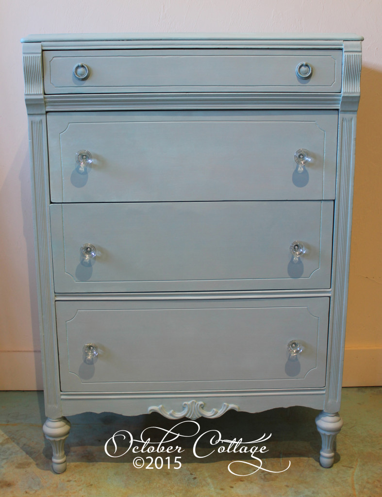 Hand-Painted Dresser with Glass Knobs