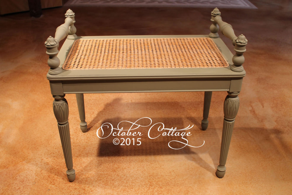 Wicker bench with side rails IMG_0772